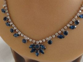 1950s - 1960s Rhinestone Necklace with Sapphire coloured jewels (SOLD)